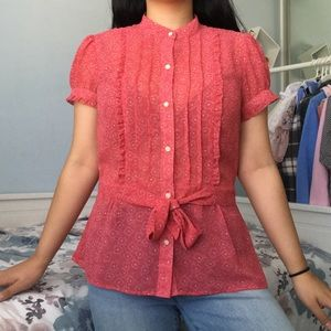 Ann Taylor Cherry Red Blouse